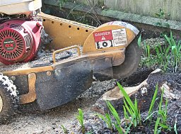 A closer look at the spinning disk of the Rayco Stump Grinder thumb